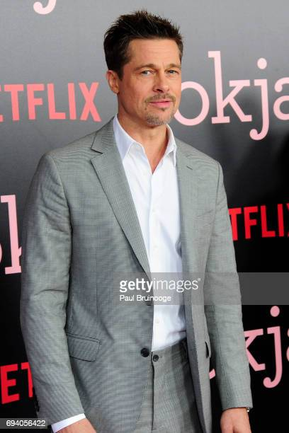 Brad Pitt attends Netflix hosts the New York Premiere of 'Okja' at AMC Lincoln Square Theater on June 8 2017 in New York City