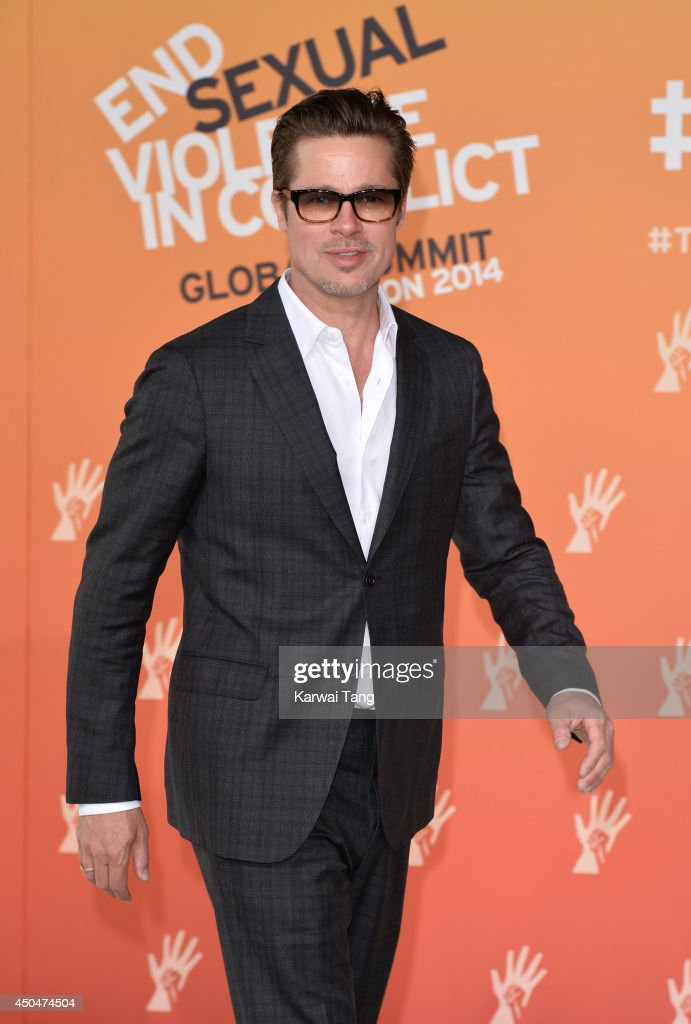 Brad Pitt attends the Global Summit to end Sexual Violence in Conflict at ExCel on June 12, 2014 in London, England.