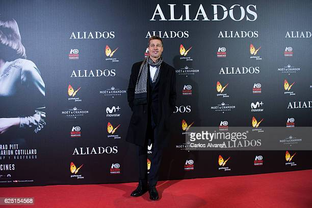 Brad Pitt attends the Madrid premiere of the Paramount Pictures title 'Allied' at Callao City Lights on November 22 2016 in Madrid Spain