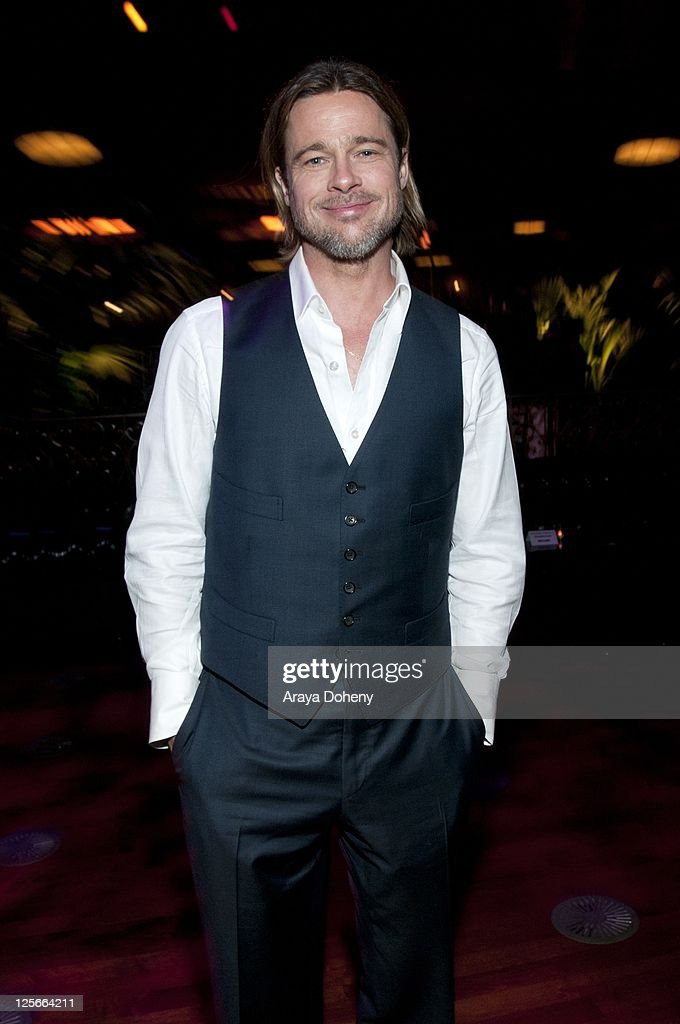 Brad Pitt attends the 'Moneyball' Oakland premiere after party at The Fox Theatre on September 19 2011 in Oakland California