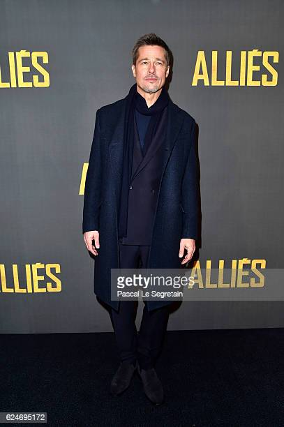 Brad Pitt attends the Paris Premiere of the Paramount pictures title 'Allied' on November 20 2016 at Cinema UGC Normandie on November 20 2016 in...