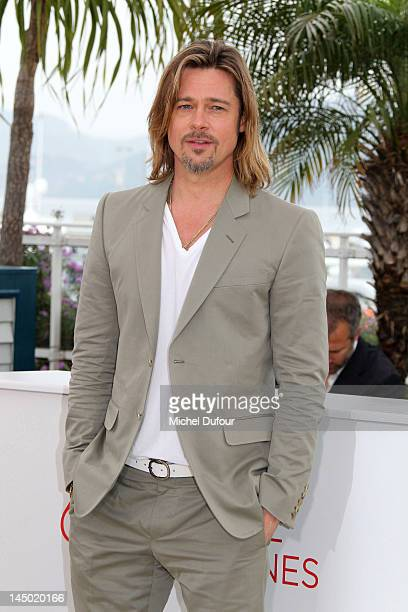 Brad Pitt attends the photocall for 'Killing Them Softly' during the 65th Annual Cannes Film Festival at Palais des Festivals on May 22 2012 in...