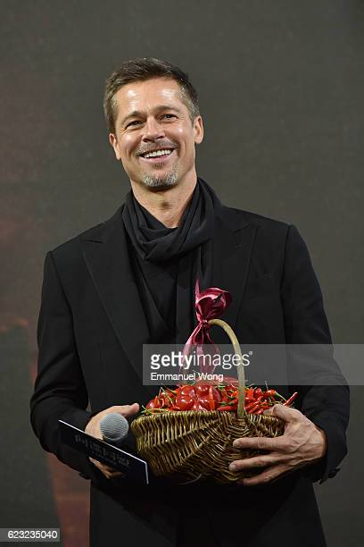 Brad Pitt attends the press conference for the Paramount Pictures title 'Allied' on November 14 2016 at Shanghai Postal Museum in Shanghai China