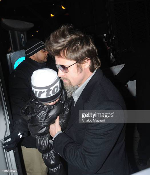 Brad Pitt carries daughter Shiloh arrive for the Broadway showing of 'Mary Poppins January 3 2009 in New York City