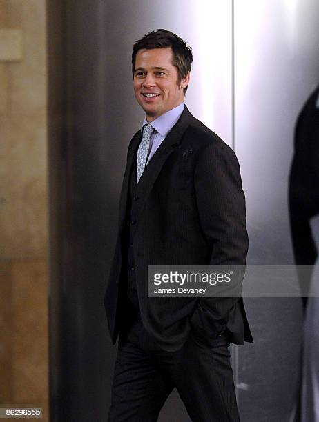 Brad Pitt films a Softbank commercial in Midtown Manhattan on April 29 2009 in New York City