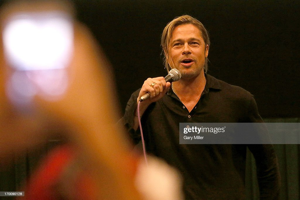 <a gi-track='captionPersonalityLinkClicked' href=/galleries/search?phrase=Brad+Pitt+-+Actor&family=editorial&specificpeople=201682 ng-click='$event.stopPropagation()'>Brad Pitt</a> introduces his new film 'World War Z' during a special screening hosted by Ain't It Cool News at the Regal Westgate Theater on June 6, 2013 in Austin, Texas.