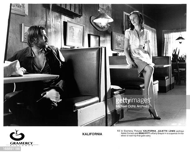 Brad Pitt is approached by Juliette Lewis in a scene from the film 'Kalifornia' 1993