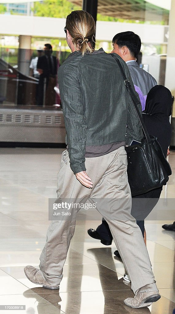 Brad Pitt is seen upon arrival at Gimpo Airport on June 11, 2013 in Seoul, South Korea.