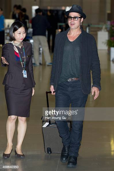 Brad Pitt is seen upon arrival at Incheon International Airport on November 12 2014 in Incheon South Korea