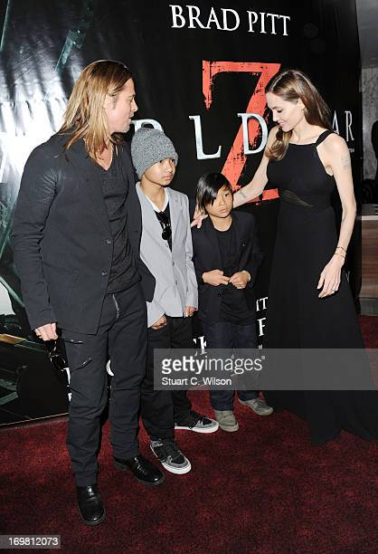 Brad Pitt Maddox JoliePitt Pax JoliePitt and Angelina Jolie attend the World Premiere of 'World War Z' at The Empire Cinema on June 2 2013 in London...