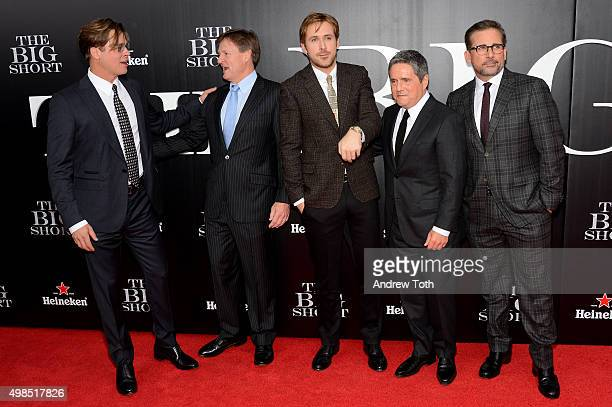 Brad Pitt Michael Lewis Ryan Gosling Brad Grey and Steve Carell attend 'The Big Short' New York premiere at Ziegfeld Theater on November 23 2015 in...