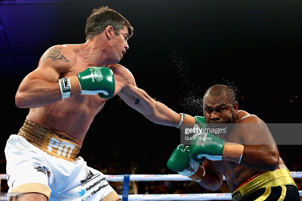 Brad Pitt of Australia lands a punch to the chin of Mosese Sorovi of Australia in their Cruiserweight undercard bout before the world title bout between Danny Green of Australia and Shane Cameron of New Zealand at Hisense Arena on November 21, 2012 in Melbourne, Australia.