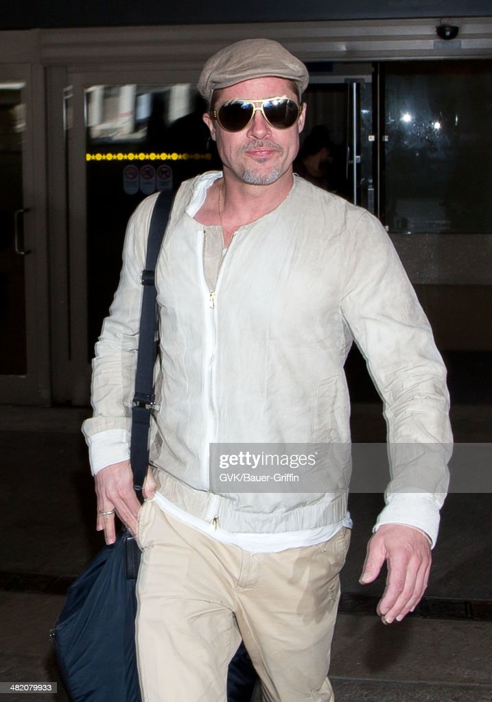 Brad Pitt seen at LAX airport on April 02, 2014 in Los Angeles, California.