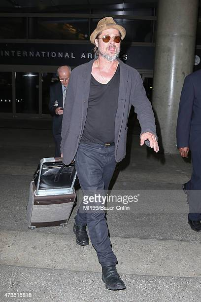Brad Pitt seen at LAX Airport on May 15 2015 in Los Angeles California