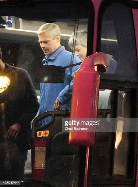 Brad Pitt sighted performing on the set of the film 'War Machine' at the Adlon Hotel on November 20 2015 in Berlin Germany