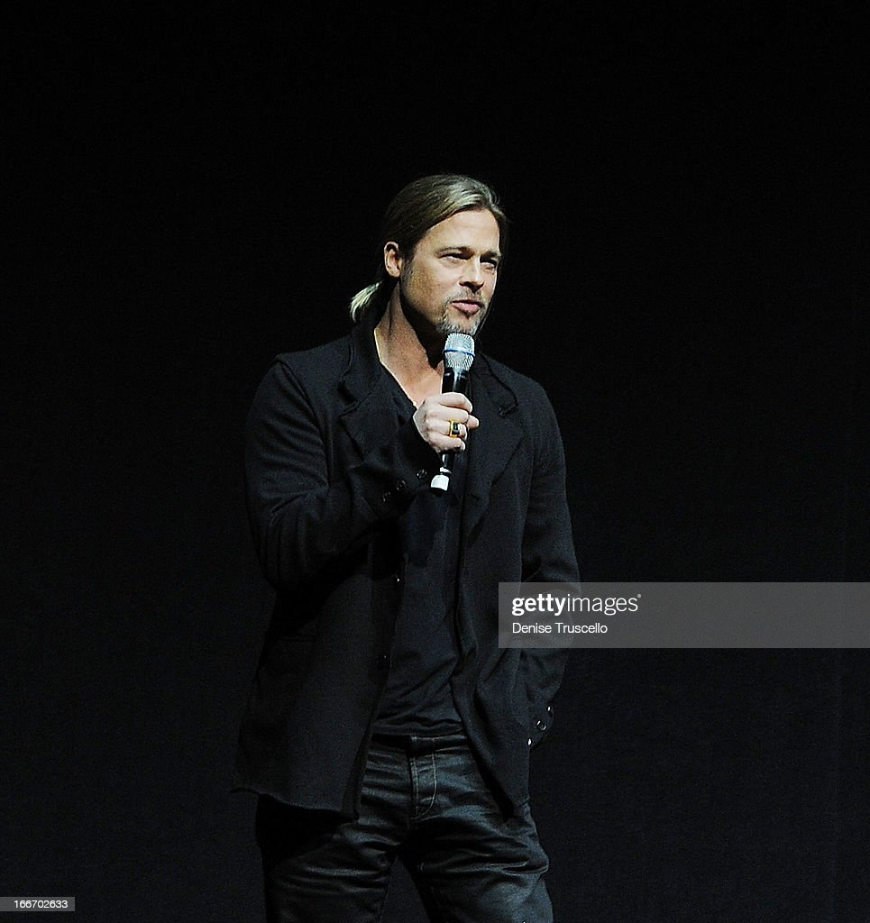 Brad Pitt speaks at CinemaCon 2013 Paramount opening night party and presentation at Caesars Palace on April 15, 2013 in Las Vegas, Nevada.