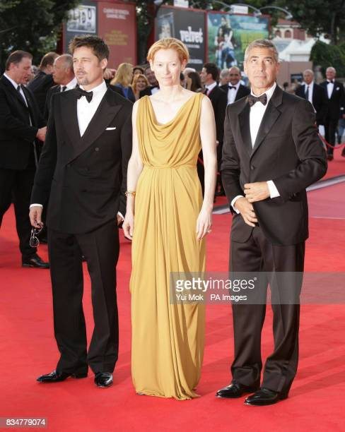 Brad Pitt Tilda Swinton and George Clooney attend the opening night screening for Burn After Reading at the 65th Venice Film Festival Venice Italy