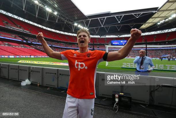Brad Potts of Blackpool celebrates during the Sky Bet League Two Playoff Final match between Blackpool and Exeter City at Wembley Stadium on May 28...