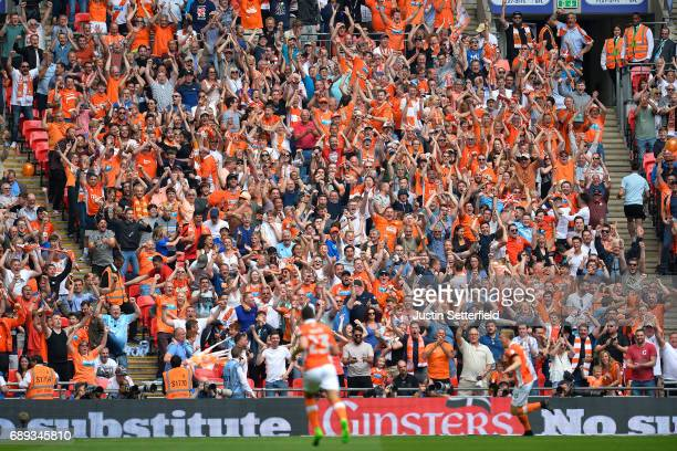 Brad Potts of Blackpool celebrates scoring his sides first goal during the Sky Bet League Two Playoff Final between Blackpool and Exeter City at...