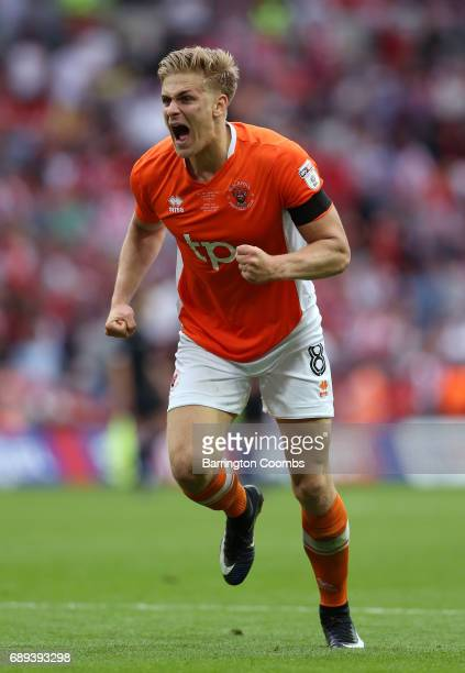 Brad Potts of Blackpool celebrates victory and promotion after the Sky Bet League Two Playoff Final between Blackpool and Exeter City at Wembley...
