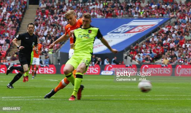 Brad Potts of Blackpool scores a goal to make it 01 during the Sky Bet League Two Playoff Final match between Blackpool and Exeter City at Wembley...