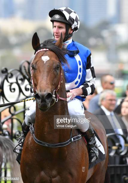 Brad Rawiller riding Articus after winning Race 1 during Melbourne Racing at Flemington Racecourse on May 6 2017 in Melbourne Australia