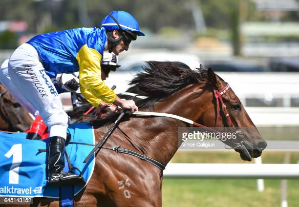 Brad Rawiller riding Black Heart Bart wins Race 5 Futurity Stakes during Melbourne Racing at Caulfield Racecourse on February 25 2017 in Melbourne...
