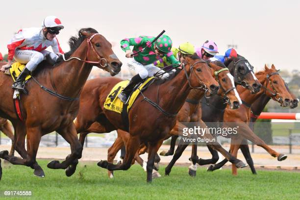 Brad Rawiller riding Camdus winning Race 7 during Melbourne Racing at Moonee Valley Racecourse on June 3 2017 in Melbourne Australia