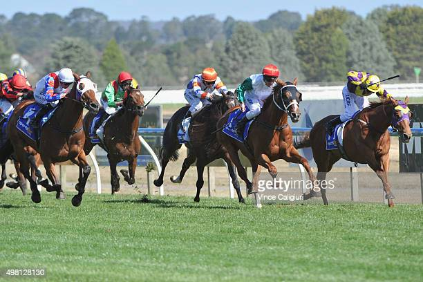 Brad Rawiller riding Junoob defeats Chris Symons riding Sonntag in Race 8 Sportsbet Ballarat Cup during Melbourne Racing at Ballarat racing Club on...