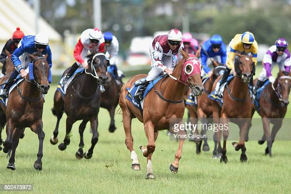 Brad Rawiller riding Leica Day winning Race 7 during Melbourne Racing at Caulfield Racecourse on December 26 2015 in Melbourne Australia