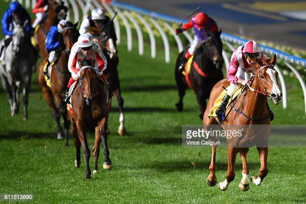 Brad Rawiller riding Real Love wins Race 3 JRA Cup during Melbourne racing at Moonee Valley Racecourse on September 30 2016 in Melbourne Australia