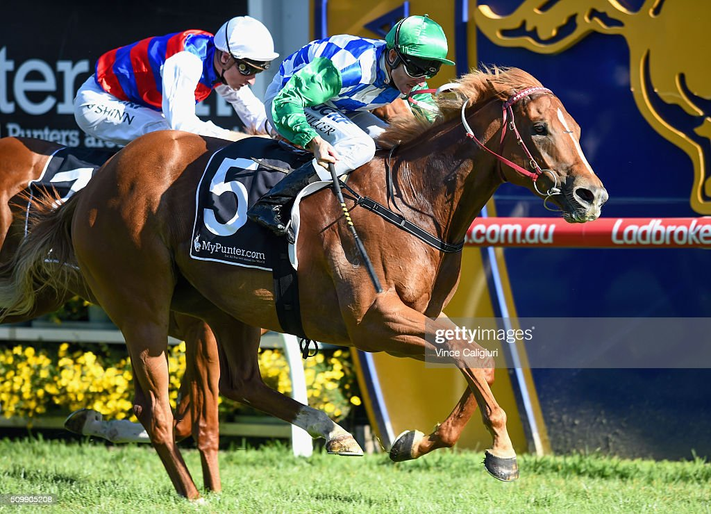 Brad Rawiller riding Tuscan Sling wins Race 9 during Melbourne Racing at Caulfield Racecourse on February 13, 2016 in Melbourne, Australia.