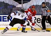 Brad Richards of the Detroit Red Wings plays against Francois Beauchemin of the Colorado Avalanche in the 2016 Coors Light Stadium Series game at...