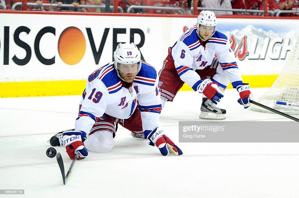 <a gi-track='captionPersonalityLinkClicked' href=/galleries/search?phrase=Brad+Richards&family=editorial&specificpeople=202622 ng-click='$event.stopPropagation()'>Brad Richards</a> #19 of the New York Rangers blocks a shot in the third period against the Washington Capitals in Game Five of the Eastern Conference Quarterfinals during the 2013 NHL Stanley Cup Playoffs at the Verizon Center on May 10, 2013 in Washington, DC.