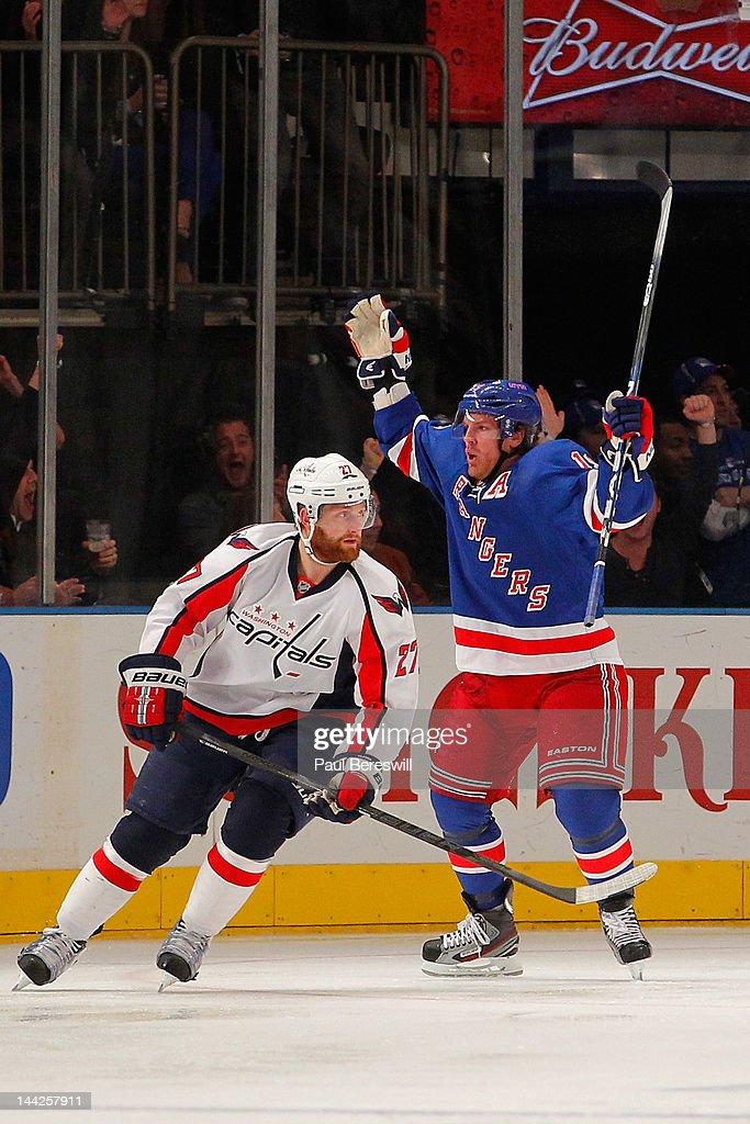 Brad Richards #19 of the New York Rangers celebrates after he scored a first period goal against the Washington Capitals in Game Seven of the Eastern Conference Semifinals during the 2012 NHL Stanley Cup Playoffs at Madison Square Garden on May 12, 2012 in New York City.