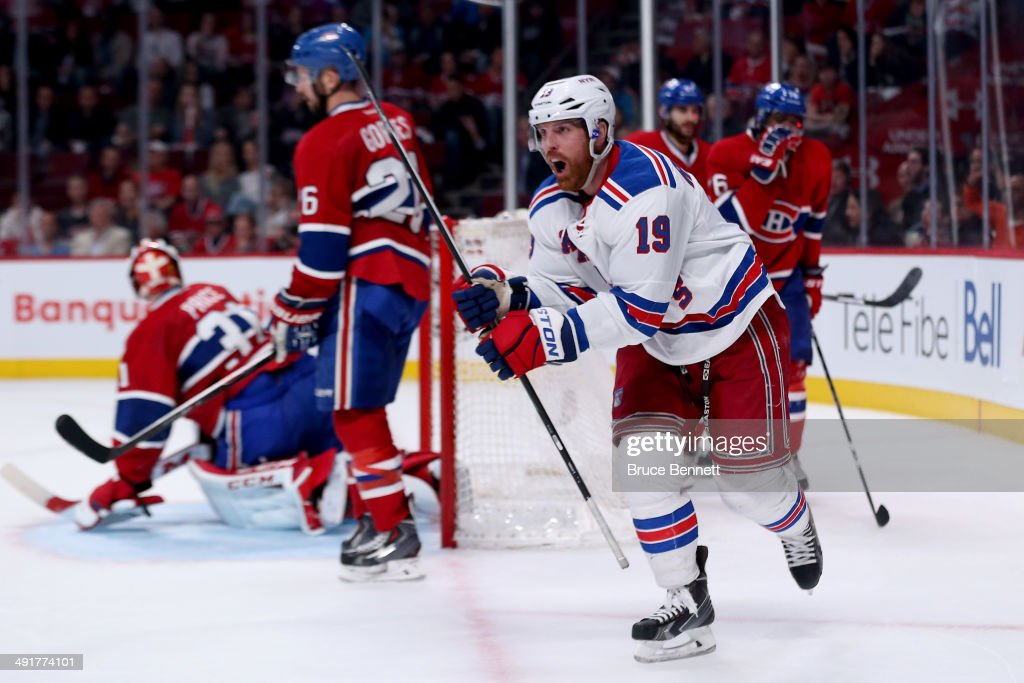 Brad Richards #19 of the New York Rangers celebrates after scoring a second period goal against the Montreal Canadiens in Game One of the Eastern Conference Finals of the 2014 NHL Stanley Cup Playoffs at the Bell Centre on May 17, 2014 in Montreal, Canada.