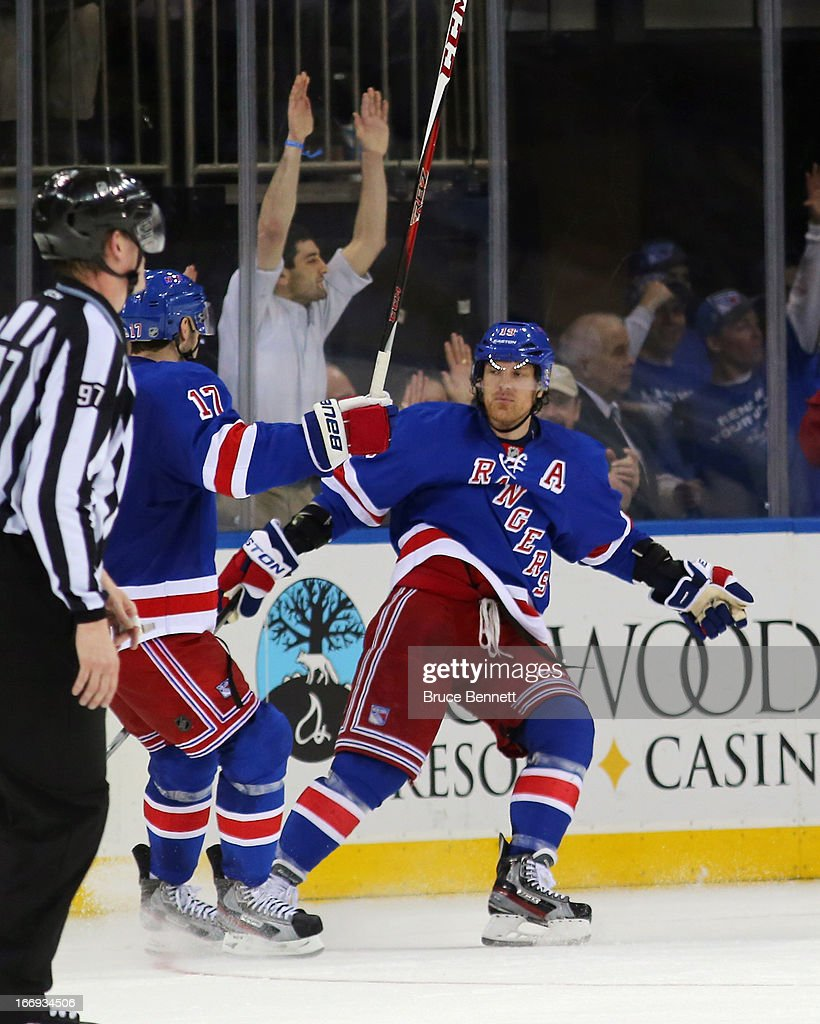 <a gi-track='captionPersonalityLinkClicked' href=/galleries/search?phrase=Brad+Richards&family=editorial&specificpeople=202622 ng-click='$event.stopPropagation()'>Brad Richards</a> #19 of the New York Rangers celebrates his goal against the Florida Panthers at Madison Square Garden on April 18, 2013 in New York City. The Rangers defeated the Panthers 6-1.