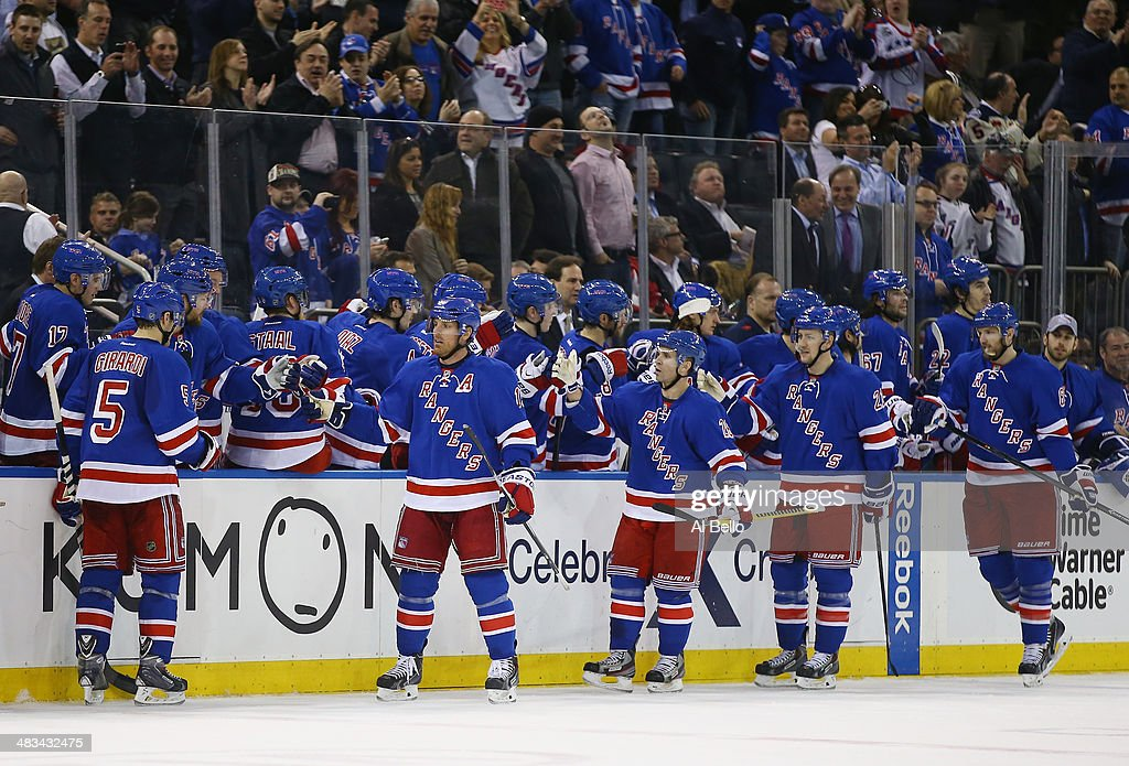 Brad Richards #19 of the New York Rangers celebrates his goal with his team against the Carolina Hurricanes during their game at Madison Square Garden on April 8, 2014 in New York City.