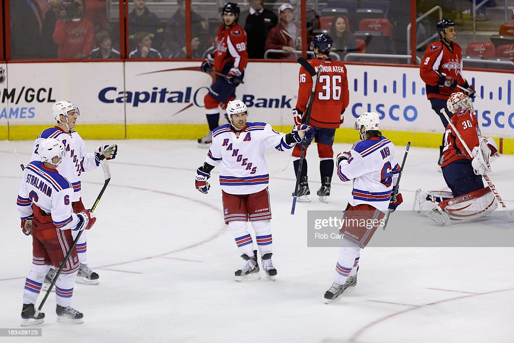 <a gi-track='captionPersonalityLinkClicked' href=/galleries/search?phrase=Brad+Richards&family=editorial&specificpeople=202622 ng-click='$event.stopPropagation()'>Brad Richards</a> #19 of the New York Rangers (C) celebrates his third period goal against the Washington Capitals at Verizon Center on March 10, 2013 in Washington, DC.