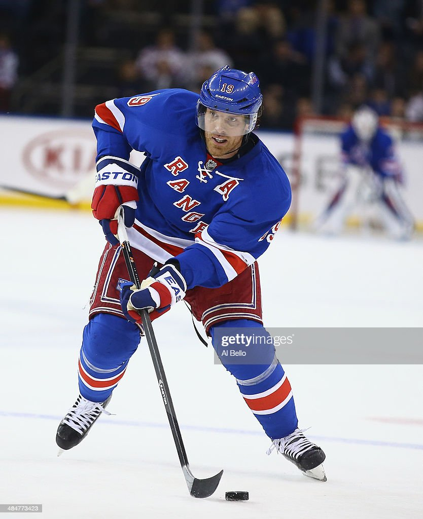 <a gi-track='captionPersonalityLinkClicked' href=/galleries/search?phrase=Brad+Richards&family=editorial&specificpeople=202622 ng-click='$event.stopPropagation()'>Brad Richards</a> #19 of the New York Rangers in action against the Carolina Hurricanes during their game at Madison Square Garden on April 8, 2014 in New York City.