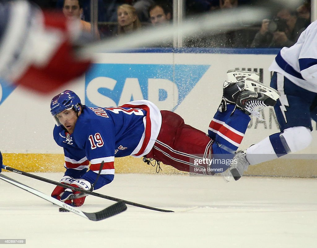 <a gi-track='captionPersonalityLinkClicked' href=/galleries/search?phrase=Brad+Richards&family=editorial&specificpeople=202622 ng-click='$event.stopPropagation()'>Brad Richards</a> #19 of the New York Rangers skates against the Tampa Bay Lightning at Madison Square Garden on January 14, 2014 in New York City. The Lightning defeated the Rangers 2-1.