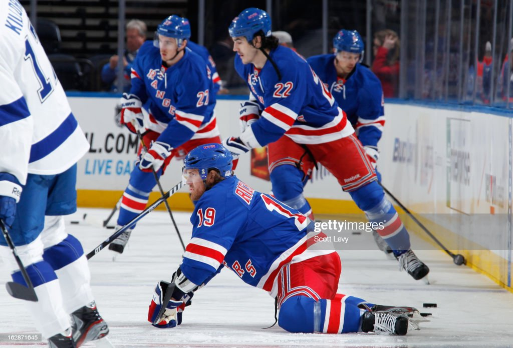 Brad Richards #19 of the New York Rangers stretches during warm-ups prior to the game against the Tampa Bay Lightning at Madison Square Garden on February 28, 2013 in New York City.