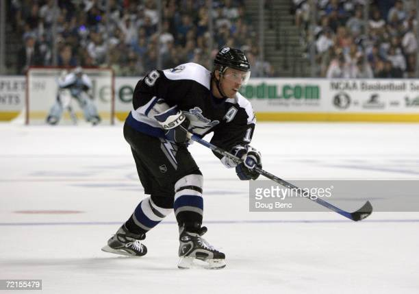 Brad Richards of the Tampa Bay Lightning skates during the game against the Boston Bruins at the St Pete Times Forum on October 7 2006 in Tampa...