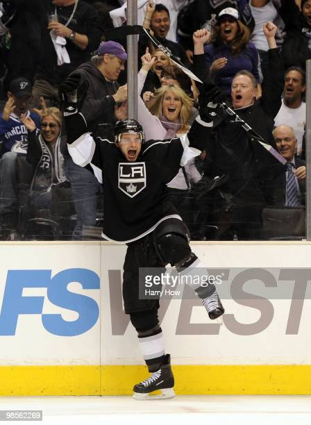 Brad Richardson of the Los Angeles Kings celebrates his goal for a 41 lead over the Vancouver Canucks during the second period in game three of the...