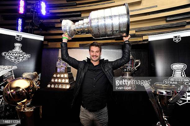 Brad Richardson of the Los Angeles Kings poses for a picture during a team championship party at the LA LIVE RitzCarlton on June 13 2012 in Los...