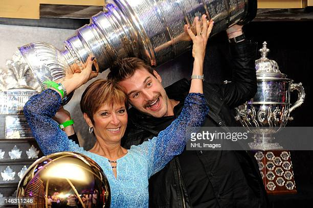 Brad Richardson of the Los Angeles Kings poses for a picture with his mom during a team championship party at the LA LIVE RitzCarlton on June 13 2012...