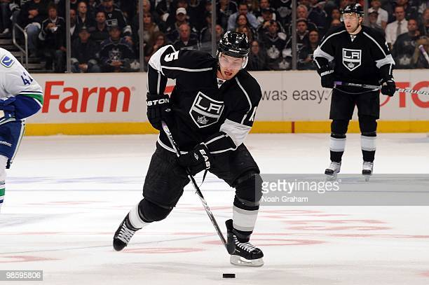Brad Richardson of the Los Angeles Kings skates with the puck against the Vancouver Canucks in Game Three of the Western Conference Quarterfinals...