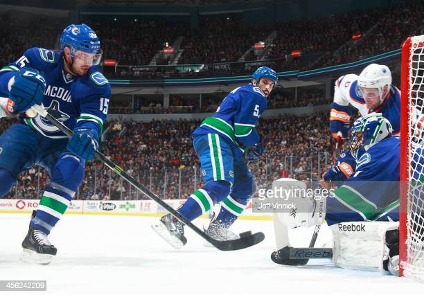 Brad Richardson of the Vancouver Canucks clears a rebound in front of Roberto Luongo during their NHL game against the the Edmonton Oilers at Rogers...