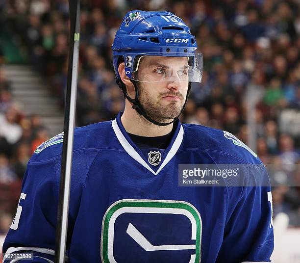 Brad Richardson of the Vancouver Canucks during their NHL game against the Nashville Predators at Rogers Arena January 23 2014 in Vancouver British...