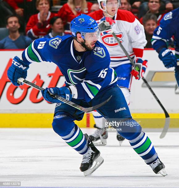Brad Richardson of the Vancouver Canucks skates up ice during their NHL game against the Montreal Canadiens at Rogers Arena October 30 2014 in...